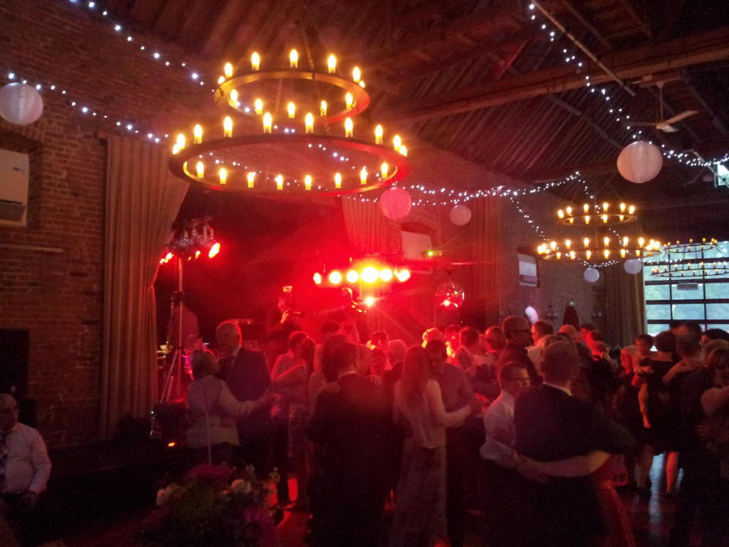 wedding disco in a barn
